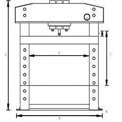 Schema des dimensions de la presse hydraulique 10 tonnes