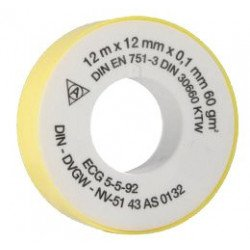 Bande d'étanchéité teflon 12m x 12 mm x 0.1 mm (60 g/m²) - 2500020