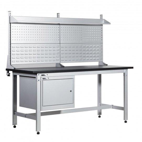 Exemple établi avec coffre et panneaux perforés Uniworks