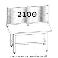 Composition complète des Panneaux crantés Uniworks  pour établi 2100 mm
