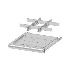 Compartiment de série sur le caisson 8 tiroirs Uniworks - L x H : 565 x 1000 - EL566510