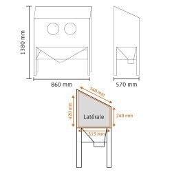Dimensions de la cabine de sablage Unicraft SSK2 - 6204001